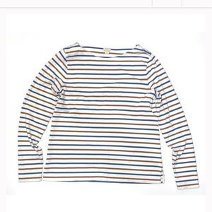 Striped long sleeved boat neck tee